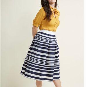 ModCloth Blue & White Stripe Midi Skirt